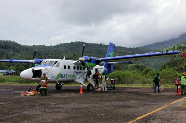 The team arrive in Long Lellang airport by twin otter flight