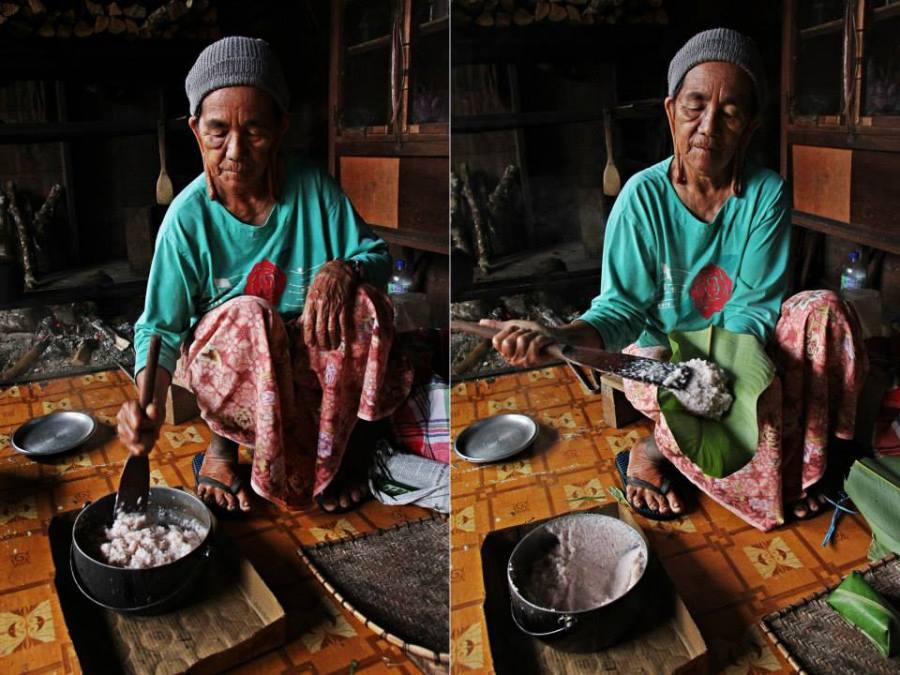 Ibu packing take-away rice parcels for us - Kelabit style.