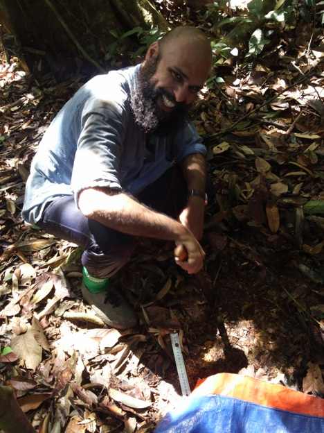 John Mathai taking soil samples in Deramakot FR, Sabah